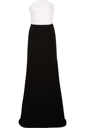 ANTONIO BERARDI Cutout two-tone crepe gown