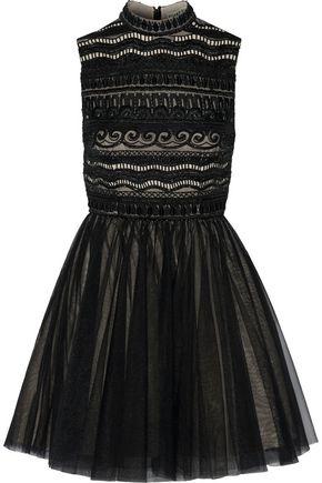 ALICE + OLIVIA Taya embellished organza and tulle mini dress