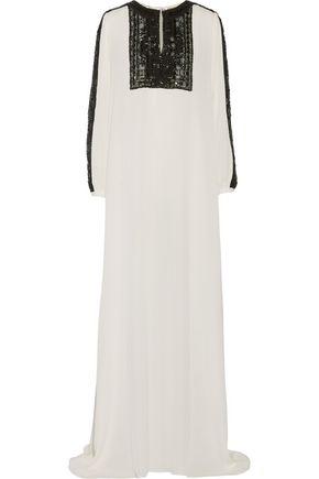 OSCAR DE LA RENTA Embellished lace-paneled silk-chiffon gown