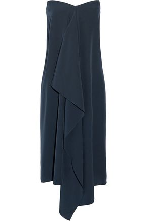 TIBI Asymmetric silk crepe de chine strapless dress