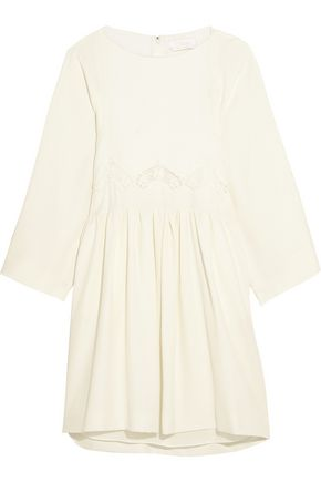 CHLOÉ Crocheted lace-paneled cady mini dress