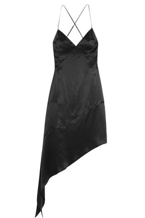 GIVENCHY Open-back midi dress in black silk-satin