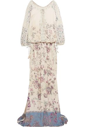 ETRO Crochet-trimmed printed crepe gown