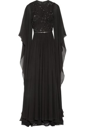 ELIE SAAB Embellished tulle and silk-chiffon gown