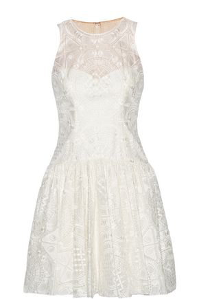 MARCHESA NOTTE Embroidered organza mini dress