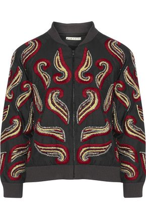 ALICE + OLIVIA Felisa embellished satin jacket