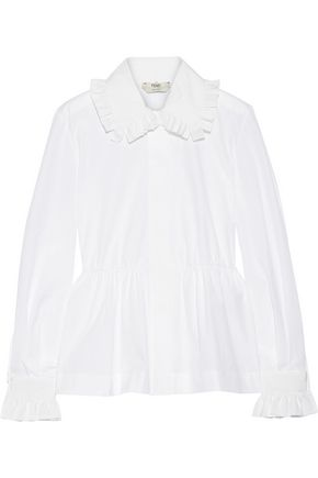 FENDI Ruffled cotton-poplin peplum shirt