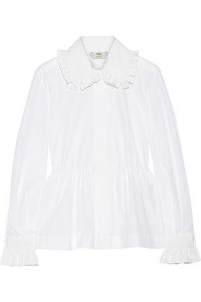 FENDI Ruffled cotton-poplin peplum shirt