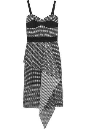 MILLY Cascade ruffled honeycomb-mesh dress