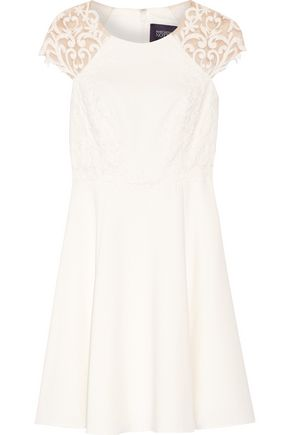 MARCHESA NOTTE Tulle-paneled stretch-cady dress