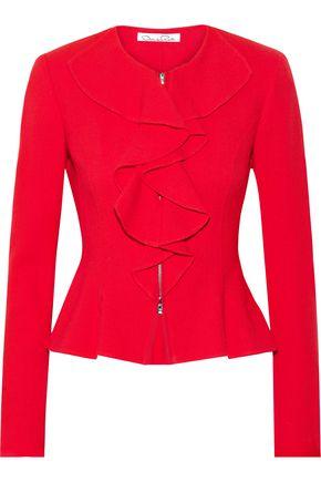 OSCAR DE LA RENTA Ruffled wool-crepe jacket