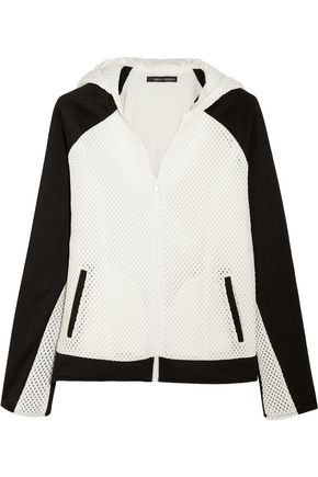 PERFECT MOMENT Honeycomb-mesh and jersey hooded top