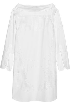 TOD'S Laser-cut cotton-poplin mini dress