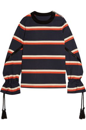 SACAI Rope-detailed striped cotton-jersey sweatshirt