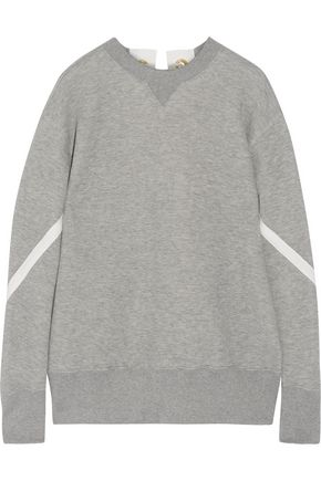 SACAI Lace-up cotton-blend sweatshirt