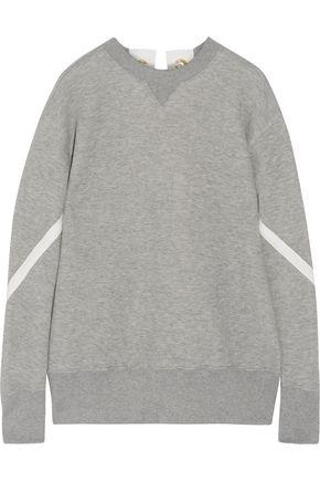 SACAI Lace-up cotton-blend sweatshirt