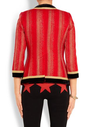 GIVENCHY Velvet-trimmed jacket in red and gold tweed