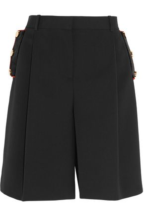 GIVENCHY Velvet-trimmed shorts in black wool