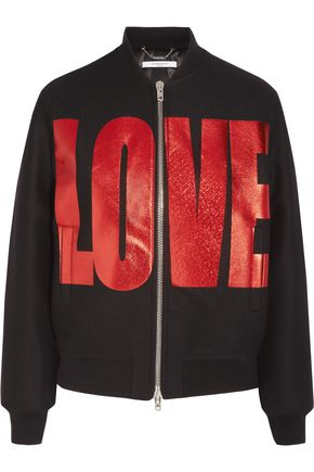 GIVENCHY Metallic printed bomber in black wool-blend felt