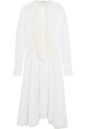 GIVENCHY Ruffled midi dress in white silk crepe de chine