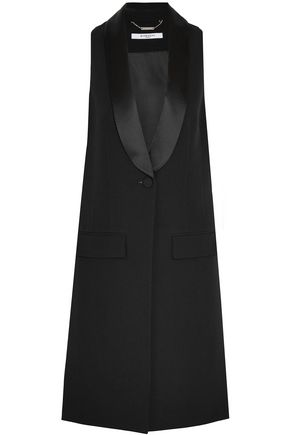 GIVENCHY Vest in black satin-trimmed wool-crepe