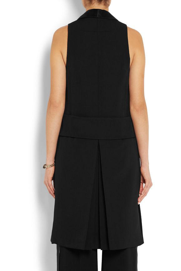 Vest in black satin-trimmed wool-crepe | GIVENCHY | Sale up to 70% off |  THE OUTNET