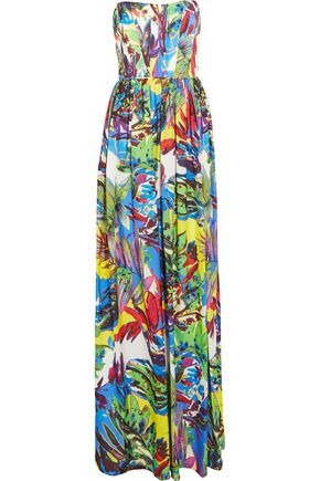 MILLY Printed silk maxi dress