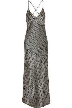 L'AGENCE Romy draped silk-satin maxi dress