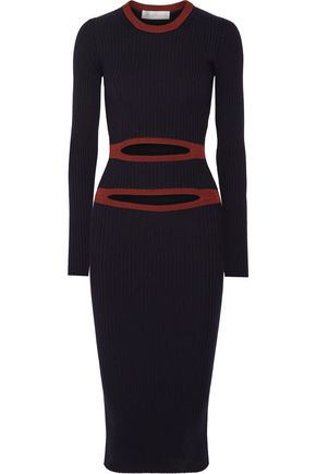 VICTORIA BECKHAM Cutout ribbed-knit midi dress