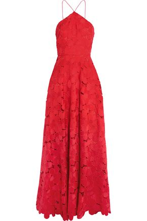 BADGLEY MISCHKA Floral-lace gown