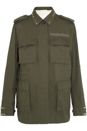 VALENTINO Studded cotton-gabardine jacket
