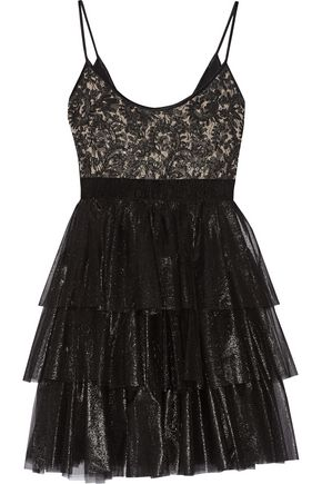 BADGLEY MISCHKA Metallic tiered lace and organza dress