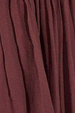 CHLOÉ Ruffled smocked silk-georgette dress