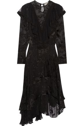 PREEN by THORNTON BREGAZZI Etha ruffled devoré silk-chiffon midi dress