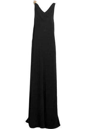 AMANDA WAKELEY Chain-trimmed wrap-effect crepe gown