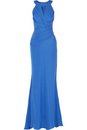 BADGLEY MISCHKA Pleated silk-blend gown