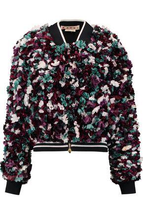 MARNI Floral-appliquéd silk-blend jacket