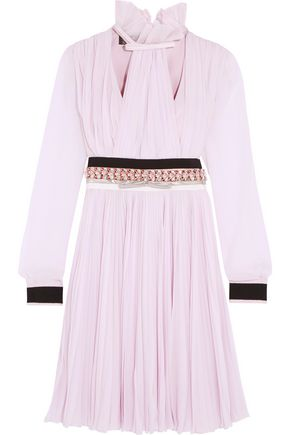 GIAMBATTISTA VALLI Embellished pleated silk-chiffon dress