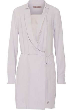 HALSTON HERITAGE Draped silk-trimmed crepe wrap dress