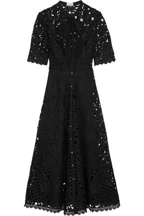 TEMPERLEY LONDON Berry pussy-bow guipure lace midi dress