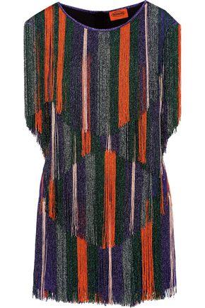 MISSONI Fringed metallic crochet-knit mini dress