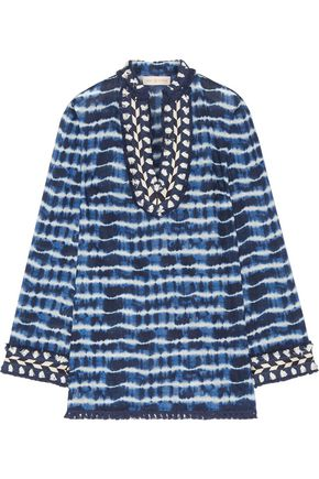 TORY BURCH Tory embellished tie-dyed cotton-voile tunic
