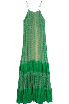 STELLA McCARTNEY Lace-paneled printed silk-blend georgette gown