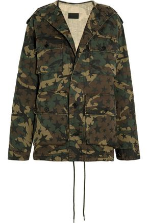 SAINT LAURENT Hooded camouflage-print cotton-canvas parka