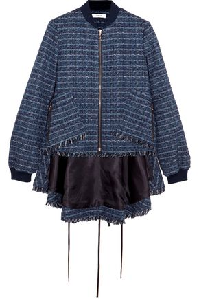 ADEAM Fringed tweed bomber jacket
