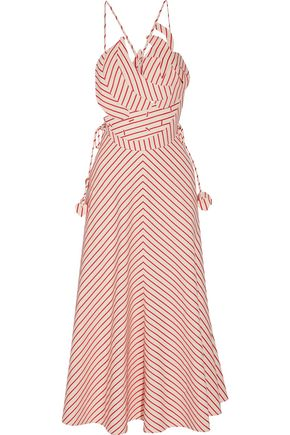 ROSIE ASSOULIN Tutti Frutti appliquéd striped linen and cotton-blend maxi dress