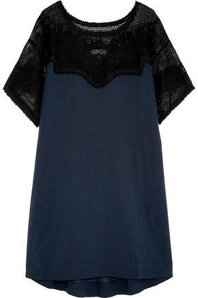 THE GREAT. Bloomer crochet-paneled cotton mini dress
