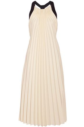 3.1 PHILLIP LIM Silk satin-trimmed pleated twill midi dress