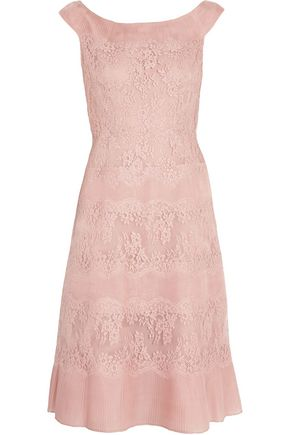 VALENTINO Lace and pleated silk-organza dress