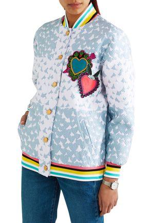 HOUSE OF HOLLAND Heart appliquéd matelassé bomber jacket